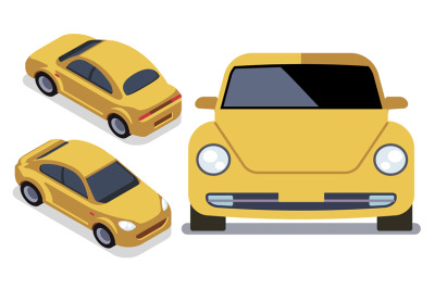 Vector flat-style cars in different views. Yellow isometric car