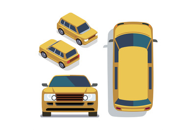Vector flat-style cars in different views. Yellow isometric suv