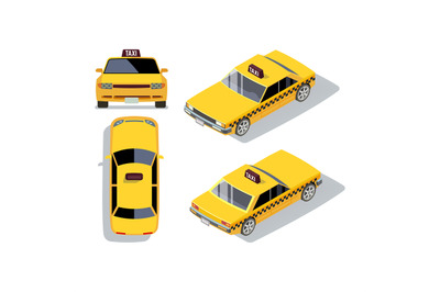 Vector flat-style cars in different views. Yellow isometric taxi