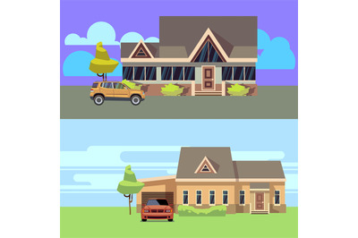 Vector horizontal banners set with houses with cars. Flat vector illus