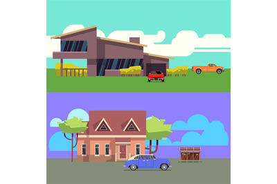 Vector set with residential houses with cars. Flat vector illustration