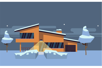 Winter country house flat vector illustration. Orange modern home with