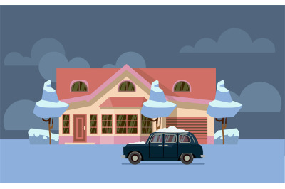 Winter country house flat vector. Pink home with old car covered by sn