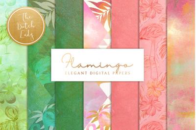 Tropical Flamingo Scrapbook Papers
