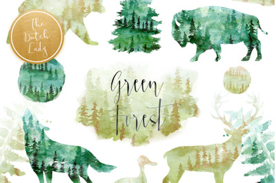 Green Winter Forest Animal Clipart