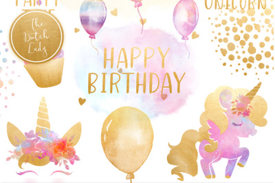 Unicorn Birthday Party Clipart Set