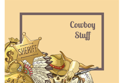 Sheriff text frame. Vector hand drawn wild west cowboy
