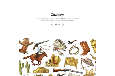 Vector hand drawn wild west cowboy elements background with place for