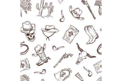 Vector hand drawn wild west cowboy pattern or background illustration