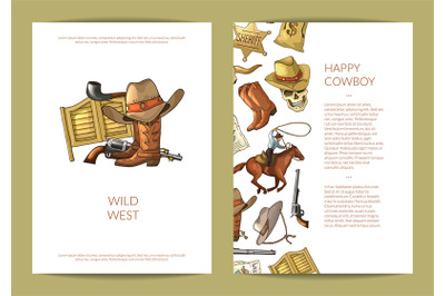 Vector hand drawn wild west cowboy elements card or flyer template ill