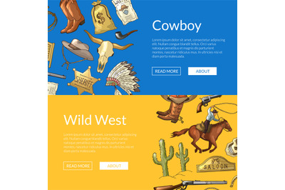 Vector wild west cowboy web banners with horses, cacti and cow skull
