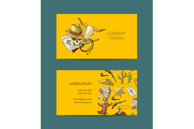 Vector hand drawn cowboy business card