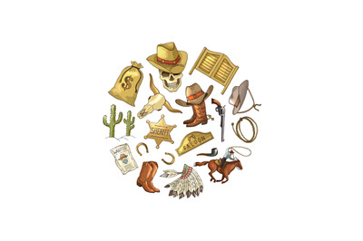 Vector hand drawn wild west cowboy elements in circle shape illustrati