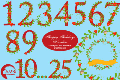Happy Holiday Numbers Clipart AMB-2127