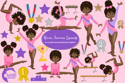 Gymnastic Girls Clipart  MINI-BUNDLE AMB-2139