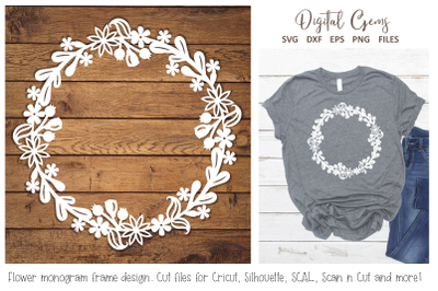 Flower monogram frame design