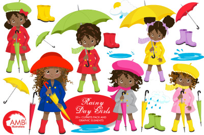 Rainy Day Girls Clipart AMB-2142