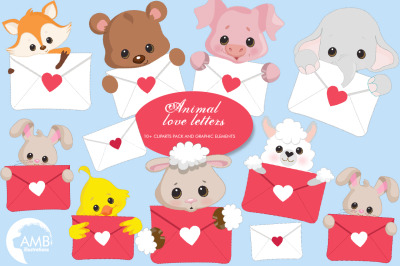 Animal Love Letters Clipart AMB-2148