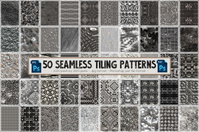 50 Silver Seamless Tiling Patterns