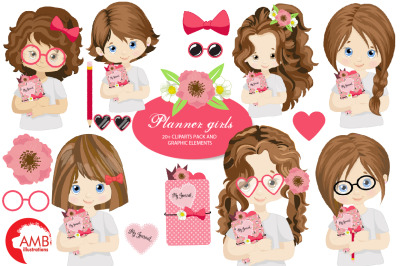 Planner Girls Clipart AMB-2164