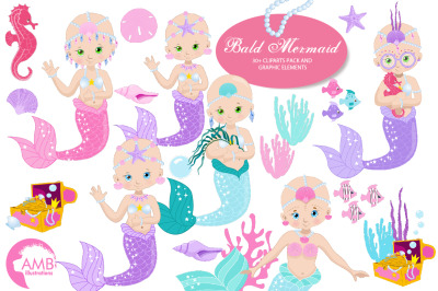 Bald Mermaids Clipart AMB-2173