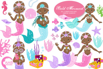 Bald Mermaids Clipart AMB-2171