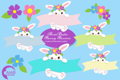 Floral Easter Bunny Banners Clipart AMB-2192