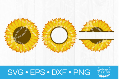 Sunflower SVG Bundle Sunflower Monogram Split Monogram Circle Monogram