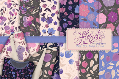 Flora 25 Purple Flower Seamless Patterns & Digital Papers