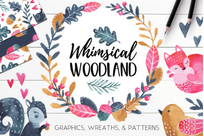 Watercolor Autumn Cute Woodland Animals Clipart