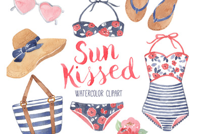 Summer Fashion Beach Pool Watercolor Clipart