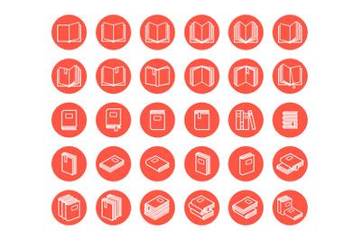 Red books icon set