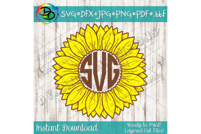 Sunflower SVG, Flower SVG, Monogram svg, Grunge Sunflower, Grunge Flow