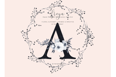 Elegant Gray Florals Alphabet - Gray and Golden Wreaths Collection