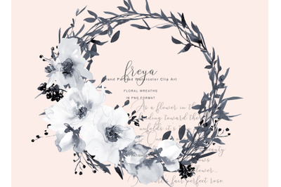 Watercolor Gray & White Flowers Wreaths