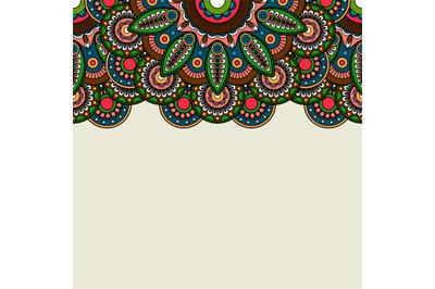 Doodle boho floral border