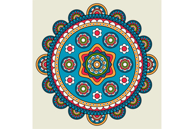 Doodle boho floral round motif