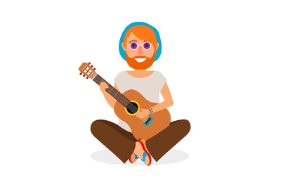 Hippie Man with Guitar vector icon
