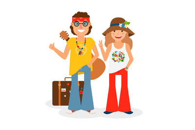 Hippie Couple Hitchhiking Vector Illustration