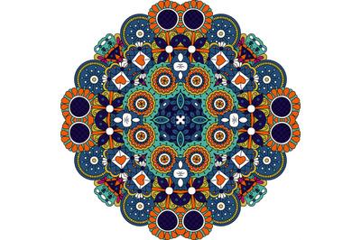 Pretty geometric design colored orange and blue