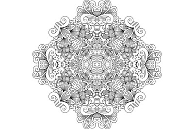 Colorless floral patterns with geometric elements