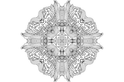 Pretty colorless circular design with vines