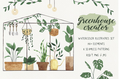 Greenhouse CREATOR. Watercolor plants in flower pots