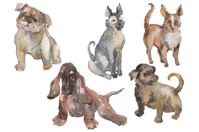 Farm animals: dogs Watercolor png