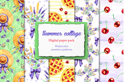 Watercolor summer cottage patterns