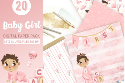 Baby girl digital paper pack