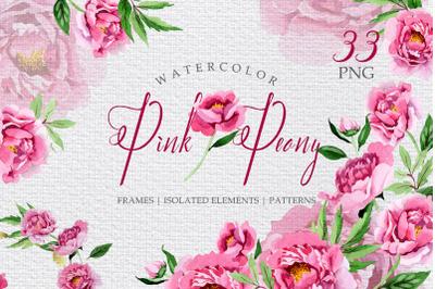 Pink Peonies Flavor of Love Watercolor png