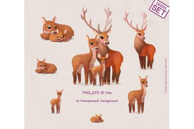vector Deers family