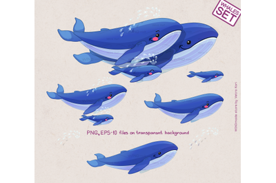 vector Whales family