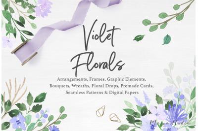 Violet Florals & Greenery Leaves